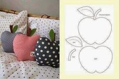 Apple pillows - this time with pattern - diy dani - Cool Decorative Pillows Felt Crafts, Fabric Crafts, Sewing Crafts, Diy And Crafts, Sewing Projects, Love Sewing, Sewing For Kids, Make Your Own Pillow, Creation Couture