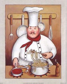 iCanvas 'Chef by John Zaccheo Graphic Art on Canvas Fat Chef Kitchen Decor, Kitchen Art, Kitchen Backsplash, Chef Pictures, Tile Murals, Le Chef, Decoupage Paper, Decorative Tile, Embroidery Patterns