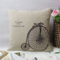 1 linen simple bicycle / bike words throw pillow cover / decorative pillow case / cushion cover 18""