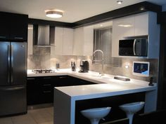 30 Designs Perfect for Your Small Kitchen area кухня потолок Kitchen Room Design, Modern Kitchen Design, Home Decor Kitchen, Interior Design Kitchen, Kitchen Furniture, Home Kitchens, Furniture Stores, Furniture Outlet, Cheap Furniture