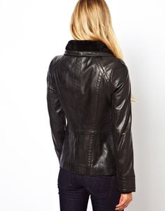 Image 2 ofTed Baker Leather Jacket with Shearling