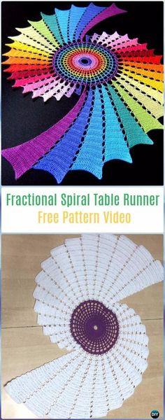 Crochet Fractional Spiral Table Runner Free Pattern Video- Crochet Table Runner Free Patterns
