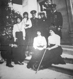 """Grand Duchesses Olga,Tatiana and Maria Nikolaevna Romanova of Russia,Captain Nikolai Pavlovich Sablin,Anya Anya Alexandrovna Vyrubova,Olga Byutsova and officers in 1912. """"AL"""""""