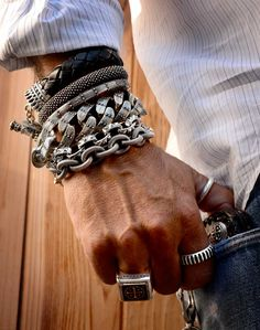 Arm party. Jewelry. Bracelets. Rings.
