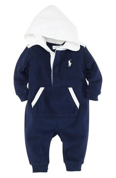 Ralph Lauren Hooded Romper (Infant) available at Nordstrom