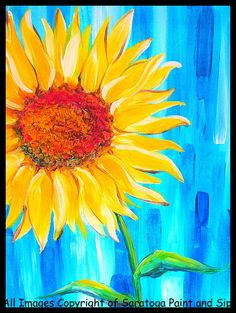 Sunflower | Saratoga Paint and Sip Studio (the middle of the sunflower should be brown, not red).