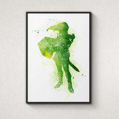 Legend of Zelda Link Alternative Poster by WatercolorPrintShop, $12.95