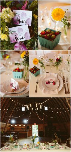 Summertime barn wedding reception, baskets of strawberries, watercolor painted place cards, bright yellow sunflowers, daisies, white linens, draped lights // Mad Chicken Studio