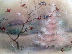 Pink Tree in The Woods w Birds Vintage Christmas Card
