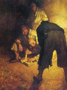 NC Wyeth delivers a voyeuristic scene through the use of a Normal lens field of view.  We feel as though we are in the room and yet outside the situation.  Three steps closer and we would be looking over the pirates shoulder with a wider view and it would dramatically change the narrative.