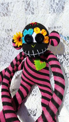 This awesome Pink and black stripe soft polyester day of the dead sugar skull sock monkey ! Handcrafted by me and all hand sewn, from brand new