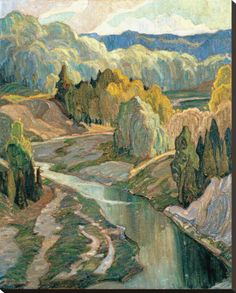 The Valley, c.1921 Stretched Canvas Print by Franklin Carmichael at Art.com