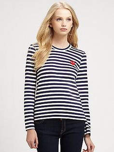 Comme+des+Garcons+Play Striped+Tee