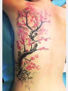 34 ideas for cherry blossom tree tattoo tatoo Girly Tattoos, Trendy Tattoos, Leg Tattoos, Flower Tattoos, Body Art Tattoos, Tattoos For Women, Tatoos, Tattoo Art, Tree Sleeve Tattoo