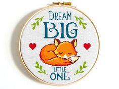 Fox cross stitch pattern Dream Big Little One Easy cross stitch Baby cross stitch PDF Modern cross stitch Woodland Little fox Nursery decor