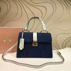 732617e0cca4 2016 A W Miu Miu Leather and Denim Top Handle Bag 5BA108 in Blue+Chrome