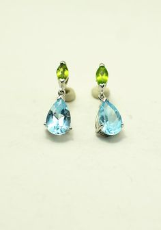 Peridot and Blue Topaz Drop Earrings by 4DloveofJewelry14 on Etsy