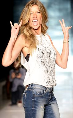Gisele Bündchen unleashes her inner rocker chick during rehearsal for the Colcci show at Sao Paolo Fashion Week.