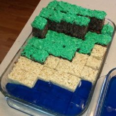 Minecraft Crispie Treats-Idea for Kai's bday this year