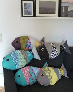 Fischkissen Fischkissen – Baby Pillow Name Fabric Toys, Fabric Crafts, Sewing Crafts, Sewing Projects, Cute Pillows, Baby Pillows, Kids Pillows, Recycled Crafts Kids, Crafts For Kids