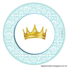 Corona Dorada en Fondo Celeste: Etiquetas para Candy Bar para Imprimir Gratis.