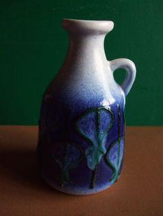 Vintage Strehla fat lava 1960's vase an East German antique pottery pot classic