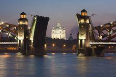 Smolny Catheldral seen through the Bolsheohtinskiy Bridge St Petersburg, Russia.