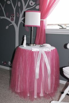 Aubree's Tutu Table and lamp I made for her room