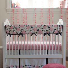 Coral and Navy Floral Crib Bedding | Girl Baby Bedding | Carousel Designs