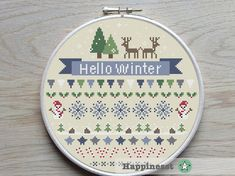 Modern cross stitch pattern Hello Winter. Check the other season patterns! The pattern comes as a PDF file that youll will be able to download