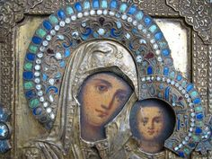 RUSSIAN ORTHODOX OLD BELIEVE BRONZE WOOD ICON WITH ENAMEL 17 CENTURY.