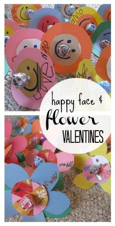 homemade happy face and flower valentines | easy valentines for kids