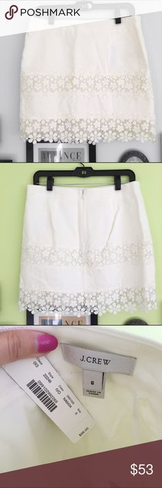 J.Crew Skirt J. Crew white daisy lace skirt. New with tags. There is a small spot on the front, but it should come out in the wash.   ⭐️10% off 2+ bundle ⭐️Size 6 ⭐️Smoke Free Home  ⭐️No stains or flaws J. Crew Skirts Mini