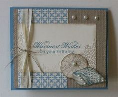 SU! By the Seashore, By the Tide and Blooming With Kindness (sentiment) stamp sets; Parker's Patterns DSP; colors are Marina Mist and Crumb Cake - Holly Krautkremer
