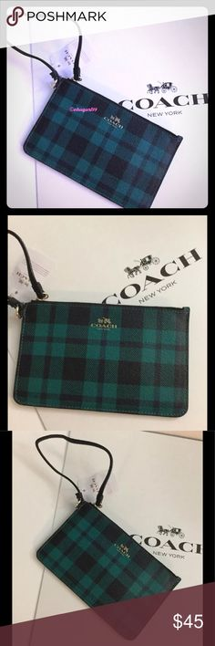 NWT Coach Riley Plaid Small Wristlet, F54461 Brand new with original tag women's Coach Riley Plaid Small Wristlet   Product details: -Made of coated canvas in plaid pattern -Fabric lining with 2 credit card slots -Dimensions: 7 L x 4.5 H in -Inside multifunction pocket  -Zip-top closure -Wrist strap attached  -color: Atlantic multi -F54461 Coach Bags Clutches & Wristlets