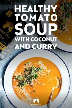 Coconut milk, bone broth, and a hint of turmeric-tinted curry make this creamy tomato soup a healthier, dairy-free version of the classic that's sure to become one of your new favorite homemade and healthy tomato soup recipes. Healthy Tomato Soup Recipe, Tomato Soup Recipes, Good Healthy Recipes, Healthy Meals, Healthy Food, Bone Broth Detox, Bone Broth Soup, Bone Broth Benefits, Making Bone Broth