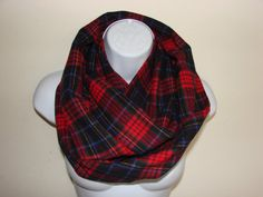 red blue green plaid infinity scarf flannel by OtiliaBoutique Plaid Infinity Scarf, Red Blue Green, Flannel, Trending Outfits, Unique, Clothes, Vintage, Etsy, Fashion