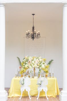 Luxury yellow wedding tablescape | Wedding reception sweetheart table decor | Llamas And Lemons For This Bright Vintage Wedding Inspiration - Photography: Szu Designs, Inc #table #tablesetting #tablescape #tabledecor #centerpieceideas #weddingdecor #weddingdecorations