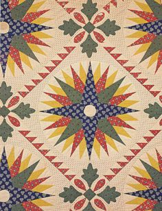 Mariner's Compass Quilt detail, 1825-1850. Pennsylvania. Classic Quilts from the American Museum in Britain.