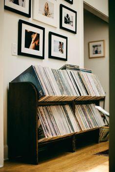 Meet James Kicinski-McCoy of Bleubird and Mother Mag - Rip & Tan Mais Record Shelf, Record Display, Vinyl Record Storage, Lp Storage, Record Table, Vinyl Record Crafts, Vinyl Shelf, Record Rack, Record Holder