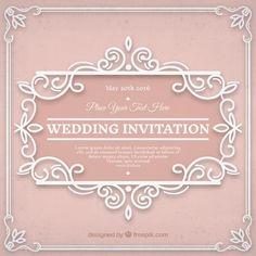 Invitación ornamental de la vendimia de la boda Vector Premium