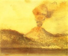 Edgar Degas (French, Vesuvius, Pastel over monotype, 25 x 30 cm. Edgar Degas, Degas Drawings, Degas Paintings, Landscape Paintings, Pierre Auguste Renoir, Manet, Illusion, National Gallery Of Art, Art Database