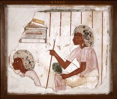Tomb wall-painting of scribes: a fragmentary tomb-painting on plaster. The painting comes from the walls of an unknown Theban tomb, similar in style to, though. Egyptian Mythology, Ancient Egyptian Art, Ancient Aliens, Ancient History, Egyptian Artwork, Egyptian Goddess, European History, Ancient Greece, American History