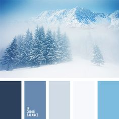 Winter fairy tail in colors. Blue and white.  Color inspiration for design, wedding or outfit. More color pallets on color.romanuke.com.