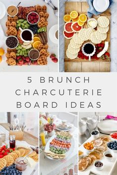 Here are five brunch board ideas you will love! From sweet to savory, these fun ideas will give you several recipes for festive, easy breakfast options. Whether it's a lazy Saturday morning, or you're hosting a gathering, these brunch charcuterie board ideas will help you take your brunch plans to the next level. Breakfast Recipes, Snack Recipes, Breakfast Options, Brunch Recipes, Love Food, A Food, Lemon Ricotta Pancakes, Appetizers For Party, Party Snacks