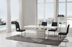 Hickory Extendable Dining Table In White Gloss With Chrome Base
