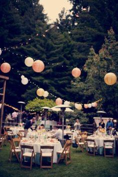 outdoor tables + lanterns