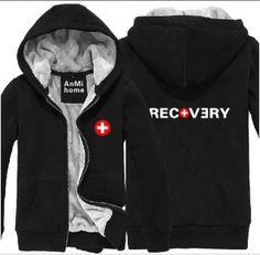 Black Eminem zip hoodie for men Recovery thick fleece sweatshirt XXXL