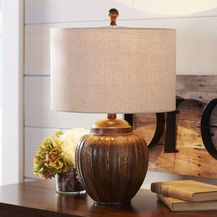 Woven Bronze-Tone Lamp