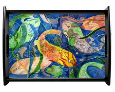 Tropical fish serving tray- Some great fish finds from Etsy!  Handmade gifts are extra special for the holidays!